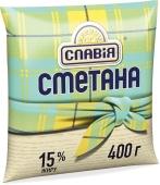 Сметана Славія 15% 400г п/э (ГЦ) – ІМ «Обжора»