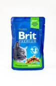 Корм консервований для стерилізованих котів з куркою Brit Premium 100 г – ІМ «Обжора»