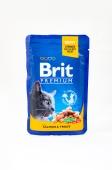 Корм консервований для котів з лососем та фореллю  Brit Premium 100 г – ІМ «Обжора»