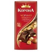 Шоколад Корона черный с целым орехом, 100 г – ИМ «Обжора»