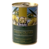 Оливки Делфи (Delphi) зеленые с косточкой 425 гр. – ИМ «Обжора»
