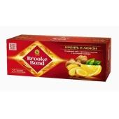 Чай Брук Бонд черный Ginger Lemon с кусочками имбиря 25 пакетиков – ИМ «Обжора»