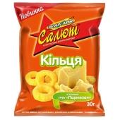 Кукурузные колечки Золотое зерно Салют сыр Пармезан 30 г – ИМ «Обжора»