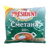 Сметана  Президент (President) 20% 350 г – ИМ «Обжора»