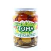 "Ассорти овощное ""Тома"": патиссоны,помидоры,огурцы N7, 680 г – ИМ «Обжора»"