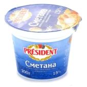Сметана Президент (President) 15% 200 г – ИМ «Обжора»