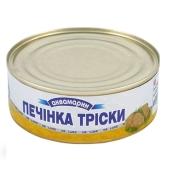 """Печень трески натуральная """"Аквамарин"""", 230 г – ИМ «Обжора»"""