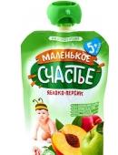 Пюре Маленькое счастье 90г яблуко-персик  НОВИНКА – ИМ «Обжора»