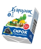 Сырок Хуторок 15% 100г с изюмом Новинка – ИМ «Обжора»