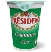 """Сметана """"Президент"""", стакан, 20%, 350 г – ИМ «Обжора»"""