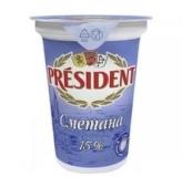 """Сметана """"Президент"""", стакан, 15%, 350 г – ИМ «Обжора»"""