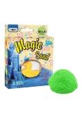 Кинетический песок Magic sand зеленого цвета, с формой, в коробке 14 см-11 см-3,2 см 0.150 кг, – ИМ «Обжора»