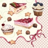 Салфетки TM Silken `Пирожные с рамкой` 33*33 3 слоя 18 шт – ИМ «Обжора»
