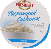 Творог Президент со сметаной солёный 9% 180 г – ИМ «Обжора»
