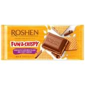 Шоколад Roshen молочный с молочной начинкой и вафлей, 105 г – ИМ «Обжора»