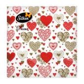 Салфетки TM Silken `С любовью` 33*33 3 слоя 18 шт – ИМ «Обжора»