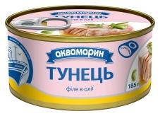 "Филе тунца в масле ""Аквамарин"", 185 г – ІМ «Обжора»"