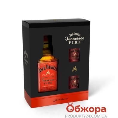 Виски-ликер Джек Дениэлс Фаер 0,7 л + 2 бокала – ИМ «Обжора»