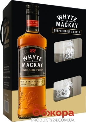 Набор виски Whyte&Mackay 0,7 л + 2 стакана – ИМ «Обжора»