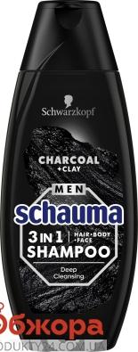 Шампунь Schauma 400 мл 3 в 1 д/чол Вугілля та глина – ІМ «Обжора»
