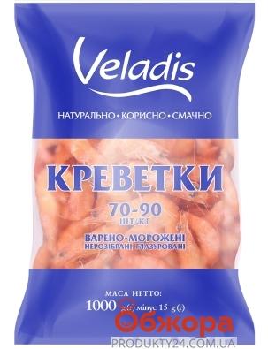 Заморожені креветки варено-очищені Veladis  70/90 0,4 кг – ІМ «Обжора»
