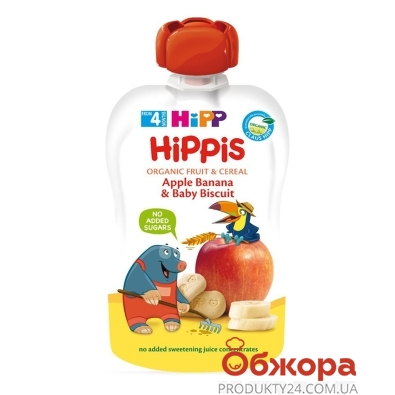 Пюре Яблуко-банан з печивом від 4 міс Hippis 100 г – ІМ «Обжора»