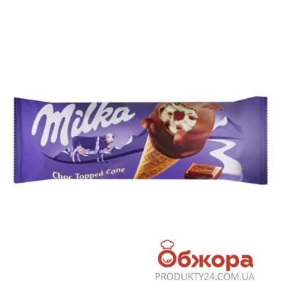 Морозиво з шоколадною глазур`ю, ріжок Milka 72 г – ІМ «Обжора»
