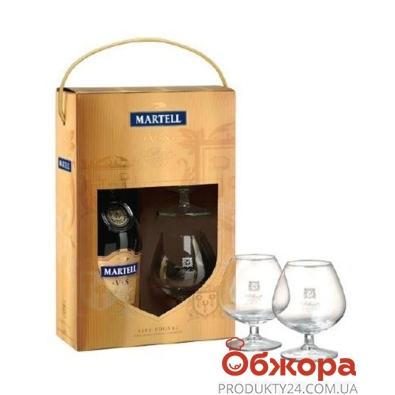 Коньяк Мартель (Martell) V.S  40% 0.7л  с 2 бокалами – ИМ «Обжора»