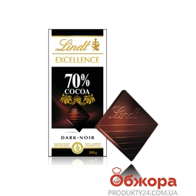 Шоколад Линдт (Lindt) Экселенс 70% черный, 100 г – ИМ «Обжора»