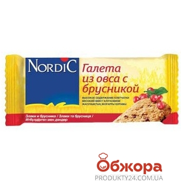 Галета Нордик  из овса с брусникой 30 г – ИМ «Обжора»