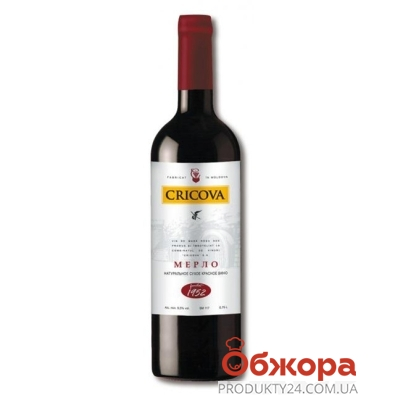 Вино Криково (Cricova) Премьера Мерло 0,75 л – ИМ «Обжора»
