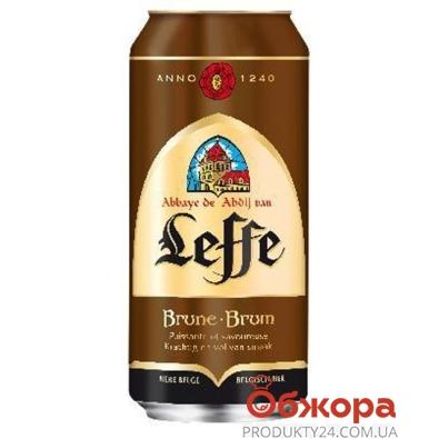 Пиво Лефф (Leffe) Brune 0,5 л. ж/б – ИМ «Обжора»