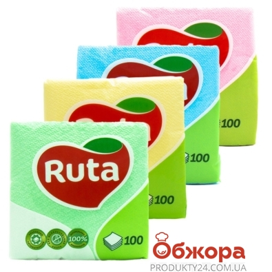 Салфетки Рута (Ruta) цветные 100 шт. – ИМ «Обжора»