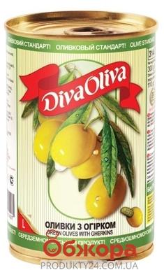 Оливки Дива олива (Diva Oliva) с огурчиком 300г – ИМ «Обжора»