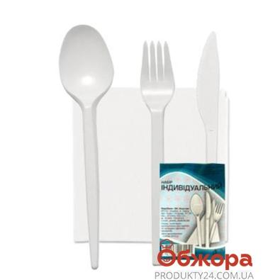 Набор Пластик (Вилка+Ложка+Нож+Салфетка) – ИМ «Обжора»