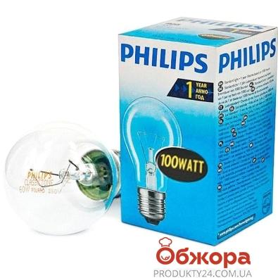 Лампочка Филипс (Philips) GLS 100 W E27 прозрачная – ИМ «Обжора»