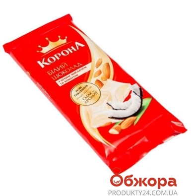 Шоколад Корона белый миндаль кокос 100 г – ИМ «Обжора»