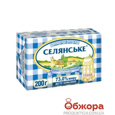 """Масло """"Селянское соленое"""" 73% 200 гр. – ИМ «Обжора»"""