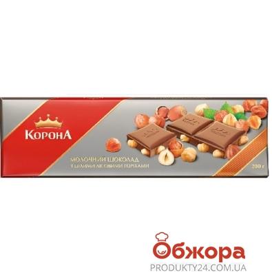 Шоколад Корона молочный с цельным орехом 200 г – ИМ «Обжора»