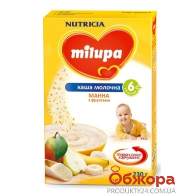 Каша Милупа (Мilupa) Молочная манная с фруктами 230 г – ИМ «Обжора»