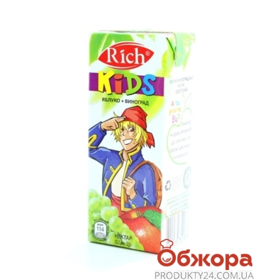 Сок Рич (Rich) Kids Яблоко/виноград 0,2 л – ИМ «Обжора»