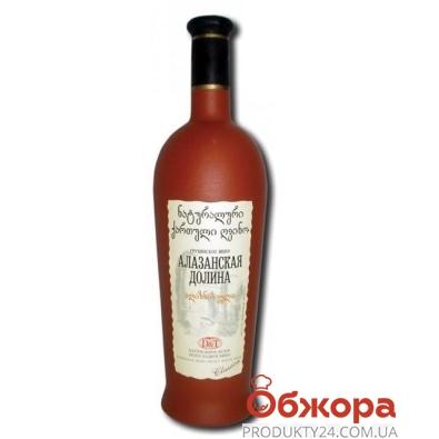 Вино груз. D&T Алазанская долина 0,75 л. белое полусладкое керамическая бутылка – ИМ «Обжора»