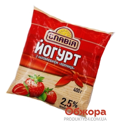 Йогурт Славия Клубника 2,5% 400 г – ИМ «Обжора»