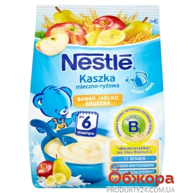 Каша Нестле (Nestle) Молочная Рис Банан, Яблоко, Груша с бифидобактериями 160 г – ИМ «Обжора»