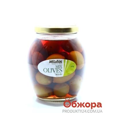 Оливки Милатос ассорти с/к  с/б 350 г – ИМ «Обжора»