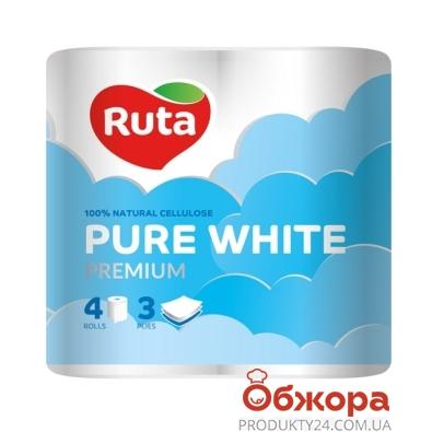 Туалетная бумага Рута Pure White Premium белая 4 шт – ИМ «Обжора»