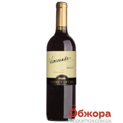 Вино Вайнмейкер (Winemaker) Мерло сухое красное 0,75л – ИМ «Обжора»