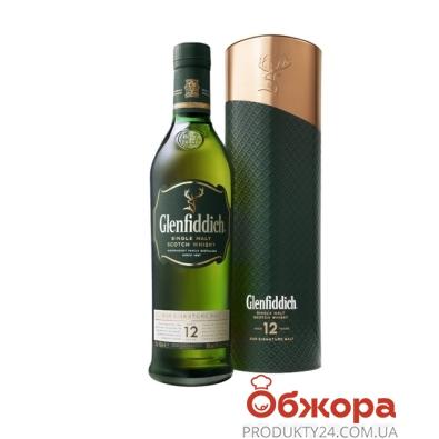 Виски Гленфиддик (Glenfiddich) 12 лет 0,7л + 2 бокала кор. – ИМ «Обжора»