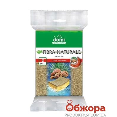 Губка Доми (Domi) кухонная Нат.Фибра 2 шт – ИМ «Обжора»