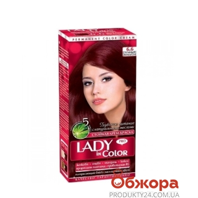 Краска Леди ин колор (Lady in color) для волос N6.6 темный махагон – ИМ «Обжора»